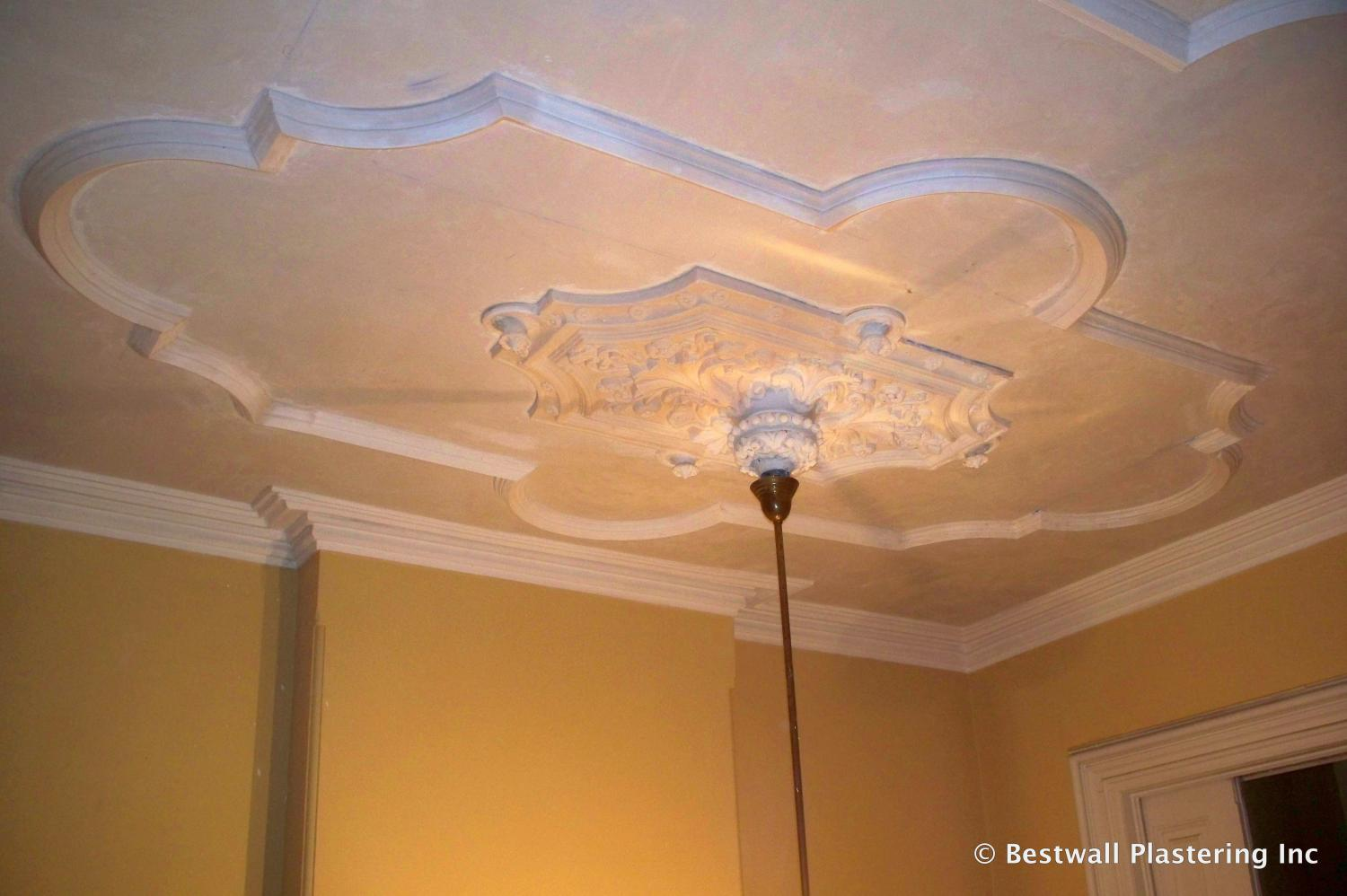 Ceiling Re Skimmed And New Plaster Molding Installed